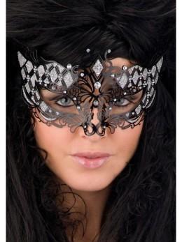 Masque loup métal luxe noir et strass
