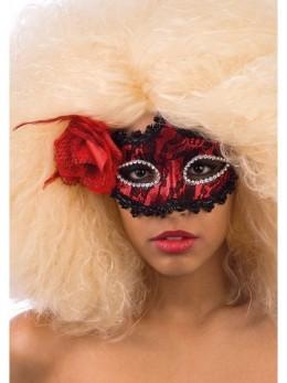 Masque loup dentelle noir et rouge avec fleur