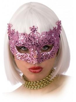 Masque loup vénitien glitter rose