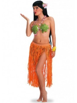 Jupe hawaienne longue orange