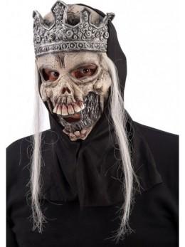Masque latex adulte squelette couronné avec cheveux
