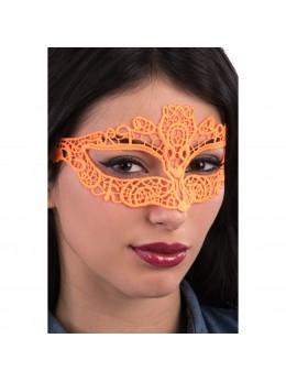 Masque loup tissu dentelle orange fluo