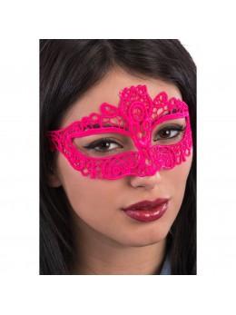 Masque loup tissu dentelle rose fluo