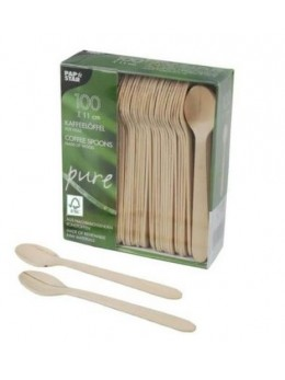 100 petites cuillères en bois 11 cm