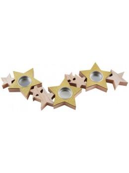 Bougeoir étoiles naturel et or