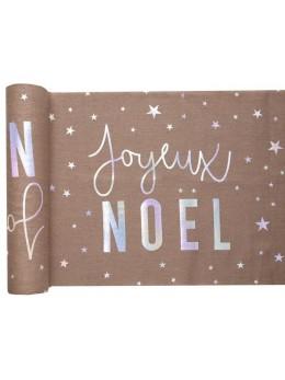 Chemin de table Joyeux Noël irisé