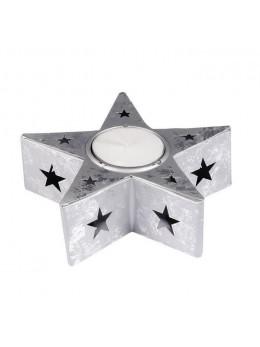 Bougeoir étoile métal argent 12cm