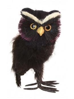 Hibou noir et violet 18cm