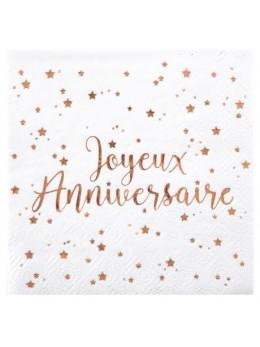 20 Serviettes joyeux anniversaire métallisé rose gold