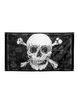 Drapeau pirate skull 150cm