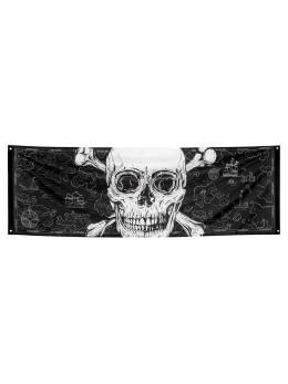 Bannière tissu pirate skull 220cm