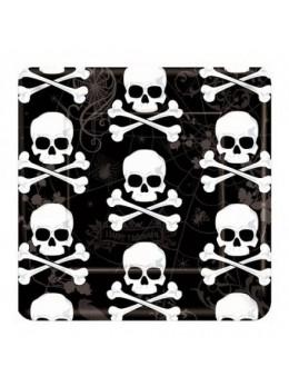 18 Assiettes carton pirate Skull