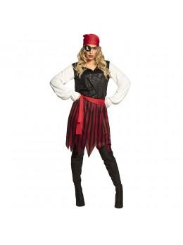 Déguisement femme pirate noire et rouge