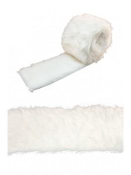 Ruban de table fourrure blanche