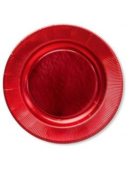 8 assiettes carton rouge métal 21cm