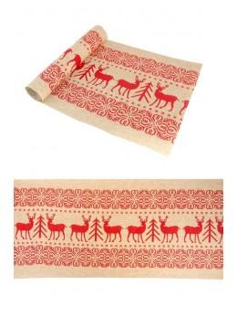 Chemin de table burlap rennes et sapin rouge