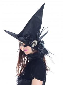 Chapeau sorcière ruban et tête de mort