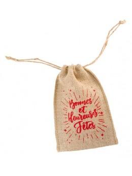 """Mini sac jute """"Bonnes Fêtes"""" 15cm"""