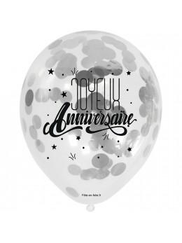 3 Ballons anniversaires avec confetti argent
