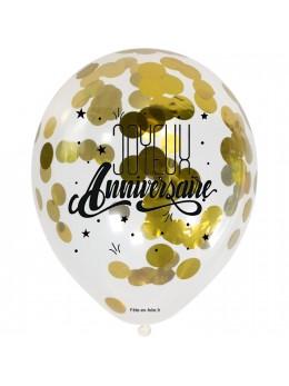 3 Ballons anniversaires avec confetti or