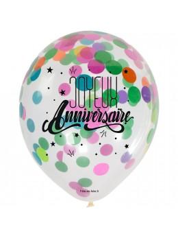 3 Ballons anniversaires avec confetti multicolore