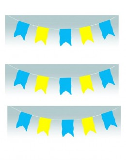 Guirlande oriflamme bleu et jaune 10m