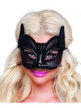 Masque loup chat dentelle noir