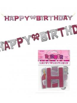 Guirlande lettres Happy birthday rose