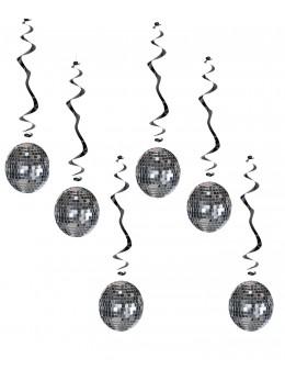 6 suspensions boules disco argent