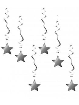 6 Suspensions étoiles luxe argent