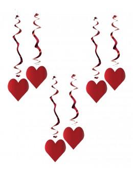 6 Suspensions coeur rouge ignifugé 80cm