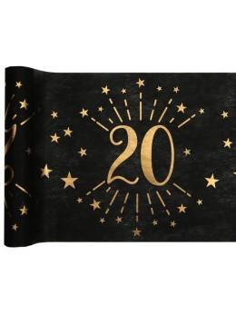 Chemin de table 20 ans noir et or