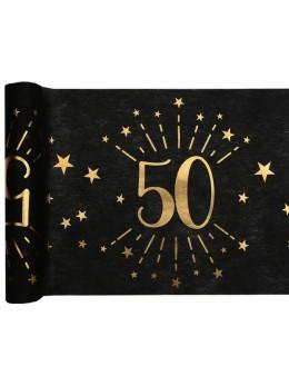 Chemin de table 50 ans noir et or