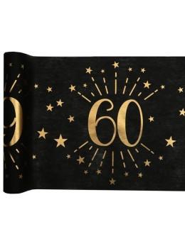 Chemin de table 60 ans noir et or