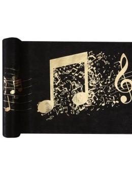 Chemin de table musique noir et or