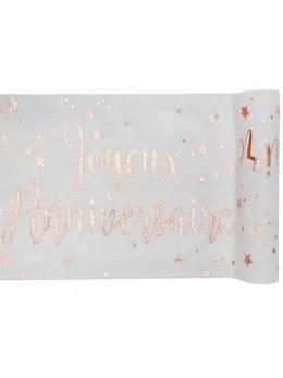 Chemin de table joyeux anniversaire rose gold