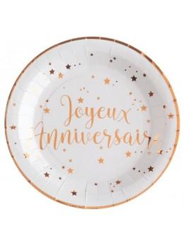 10 Assiettes joyeux anniversaire rose gold