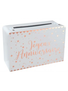Urne tirelire valise anniversaire rose gold