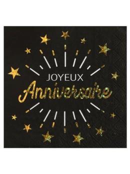 10 Serviettes Joyeux anniversaire noir et or