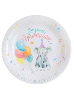 10 assiettes Joyeux anniversaire zoo
