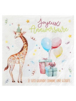 20 serviettes anniversaire animaux
