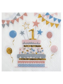 20 serviettes papier anniversaires 1 ans