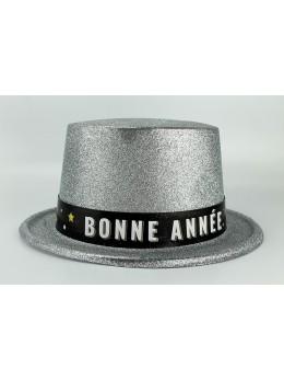 """Chapeau plastique argent """"Bonne année"""""""