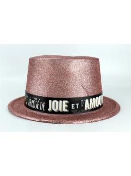 """Chapeau plastique rose gold """"Joie et Amour"""""""