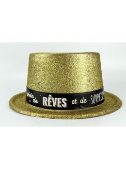 """Chapeau plastique or """"Pleins de rêves et de surprises"""""""