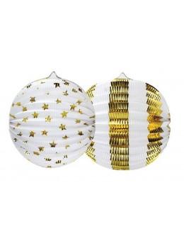 Set de deux lampions motifs blanc et or