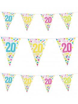 Guirlande 20 ans confetti et étoiles