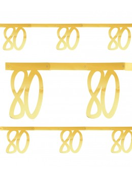Banderole âge 80 ans métal or