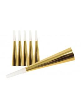 6 Trompettes sifflet métallisées or