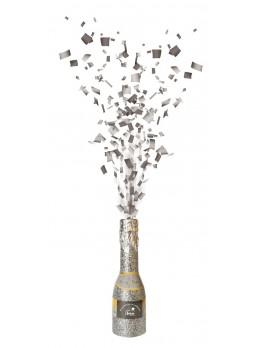 Mini bouteille lance confetti argent